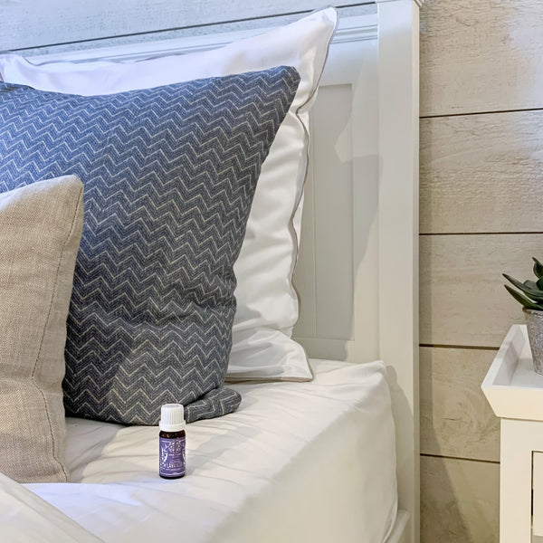 Lavender essential oil from Provence, on the side of the bed