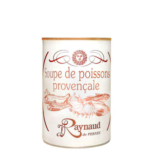 Tin of soupe de poisson, fish soup from Provence