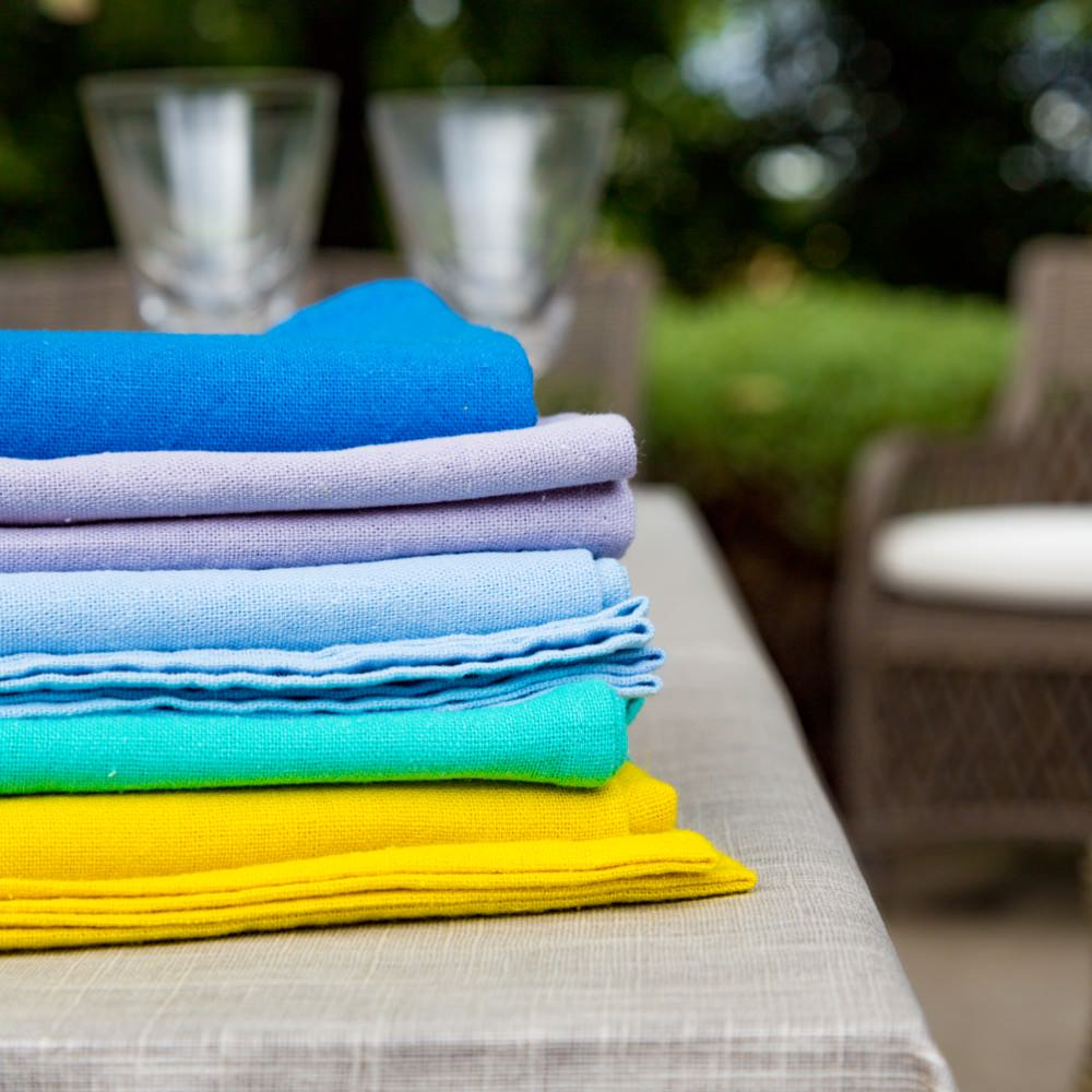 Stack of Provence linen napkins