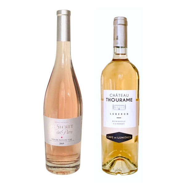 Duo of Provence rosé bottles