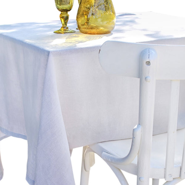 Linen tablecloth in Blanc