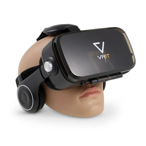 VRIT V2 3-D VR Glasses Smartphone Headset Set with built in headphones (Black)