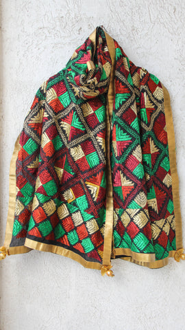 Bagh Black Cotton Hand Embroidered Phulkari Dupatta