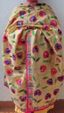 Chanderi Block Printed Beige and Magenta Hand Embroidered Phulkari Dupatta