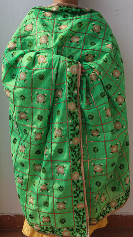 Chanderi Gota Check Green Hand Embroidered Phulkari Dupatta