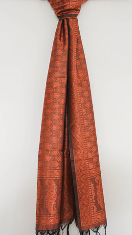 Benarasi Silk Copper Stole