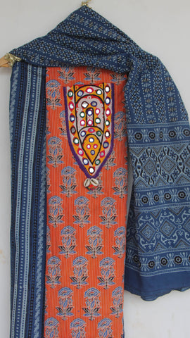 Ajrakh Orange and Indigo Pure Cotton Suit with Rabari (Kutchwork) embroidery