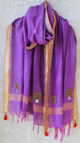 Kutchwork Cotton-Silk Lavander Dupatta with Gota Border