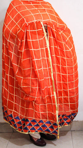 Gota check Orange Phulkari Patchwork Dupatta
