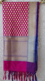 Benarasi Silk Magenta Dupatta with Rich Zari Border and Butis