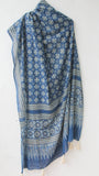Ajrakh Indigo and Grey Natural Dyed Soft Cotton Dupatta