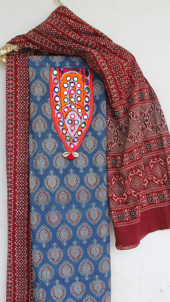 Ajrakh Indigo and Maroon Pure Cotton Suit with Rabari (Kutchwork) embroidery