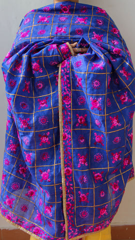 Chanderi Gota Check Blue Hand Embroidered Phulkari Dupatta