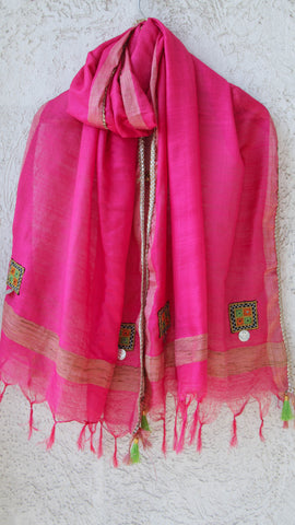 Kutchwork Cotton-Silk Magenta Dupatta with Gota Border