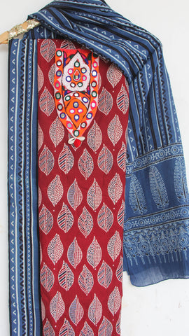 Ajrakh Maroon and Indigo Pure Cotton Suit with Rabari (Kutchwork) embroidery