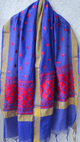 Chanderi Blue and Red Hand Embroidered Phulkari Dupatta
