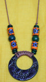 Stoneware Blue-Green Ring shaped Glazed Pendant Necklace