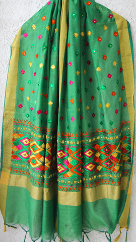 Chanderi Green and Multi-colored Hand Embroidered Phulkari Dupatta
