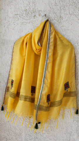 Kutchwork Cotton-Silk Lemon Yellow Dupatta with Gota Border