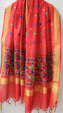 Chanderi Red and Multi-colored Hand Embroidered Phulkari Dupatta
