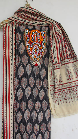Ajrakh Black and Off-White Pure Cotton Suit with Rabari (Kutchwork) embroidery