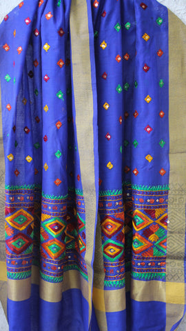 Chanderi Blue and Multi-colored Hand Embroidered Phulkari Dupatta
