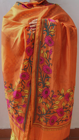 Kantha Embroidery Orange Chanderi Dupatta