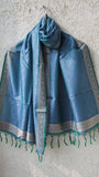 Benarasi Silk Peacock Green and Blue Stole with Border