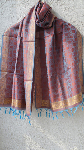 Benarasi Silk Rust and Turqoise Blue Stole with Border