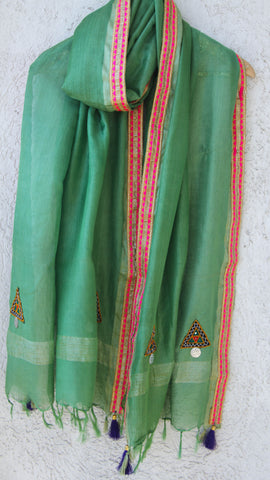 Kutchwork Cotton-Silk Green Dupatta with Gota Border