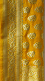 Benarasi Silk Yellow Dupatta with Rich Zari Border and Butis