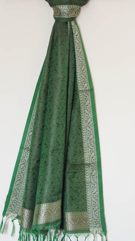 Benarasi Silk Green and Black Stole with Border