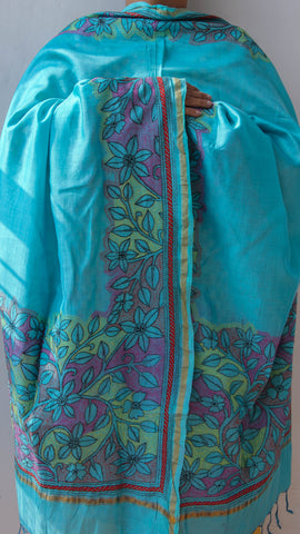 Kantha Embroidery Turquoise Chanderi Dupatta