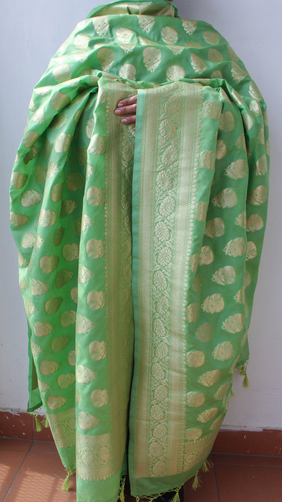 Benarasi Silk Pistachio Green Dupatta with Rich Zari Border and Butis