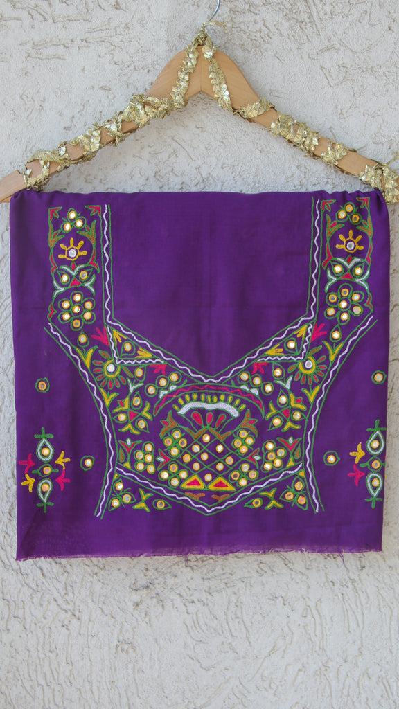Hand Embroidered Kutch Mirrorwork Purple Blouse Fabric