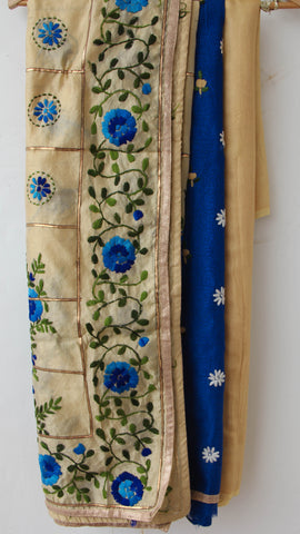 Phulkari Silk-Cotton Blue and Beige Hand Embroidered Suit Material