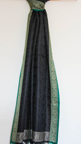 Benarasi Silk Pure Black and Green Stole with Border