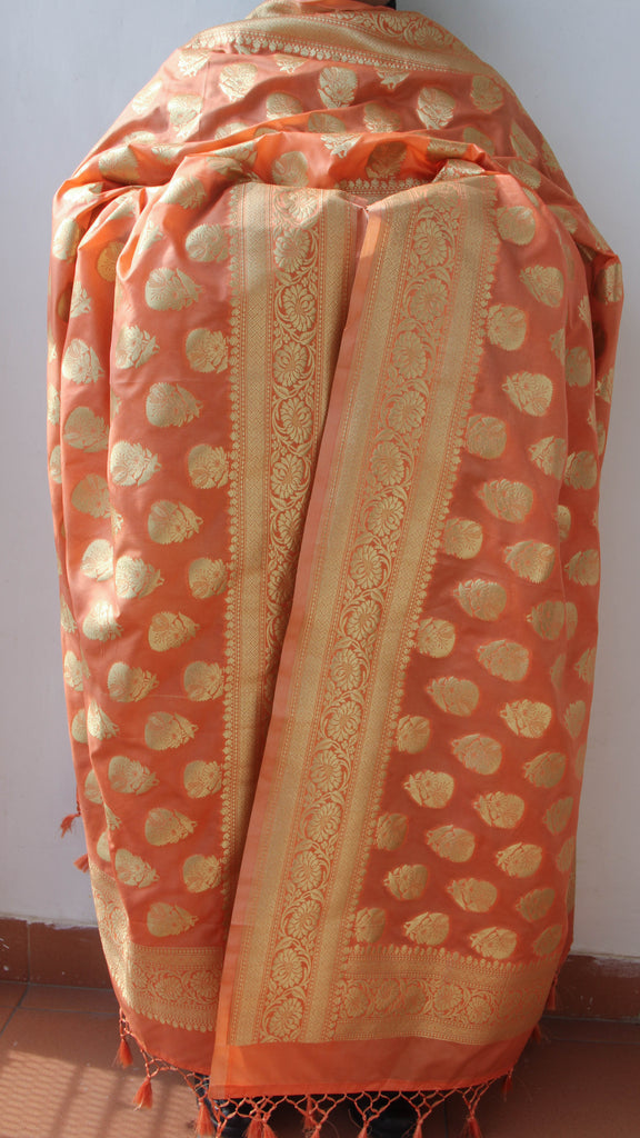 Benarasi Silk Peach Dupatta with Rich Zari Border and Butis
