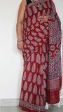 Ajrakh Maroon and Blue Natural Dyed Soft Cotton Saree(with Blouse)