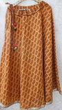 Block Printed Indigo Ochre Flared Skirt with Gota Border and Pom-Poms