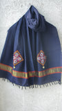 Woolen Navy Blue Kutch Embroidery Stole