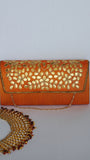 Ethnic Gotapatti Handwork Burnt Orange and Gold Clutch Party Bag