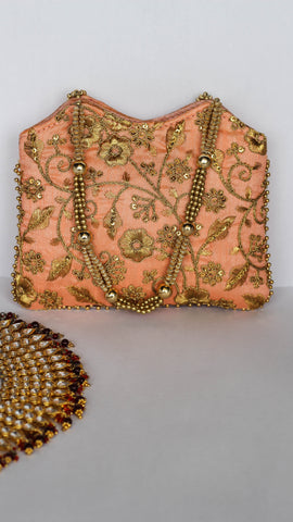 Ethnic Embroidered Peach and Gold Tote Party Bag