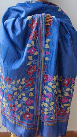 Kantha Embroidery Blue Chanderi Dupatta