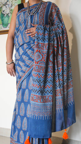 Ajrakh Indigo and Red Natural Dyed Soft Cotton Saree(with Blouse)