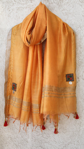 Kutchwork Cotton-Silk Ochre Dupatta with Gota Border