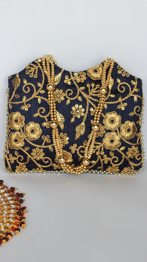 Ethnic Embroidered Navy Blue and Gold Tote Party Bag