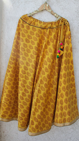 Printed Indigo Yellow Flared Skirt with Gota Border and Pom-Poms