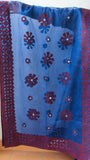 Ajrakh Block print Applique and Mirrorwork Blue and Maroon Organdy Dupatta