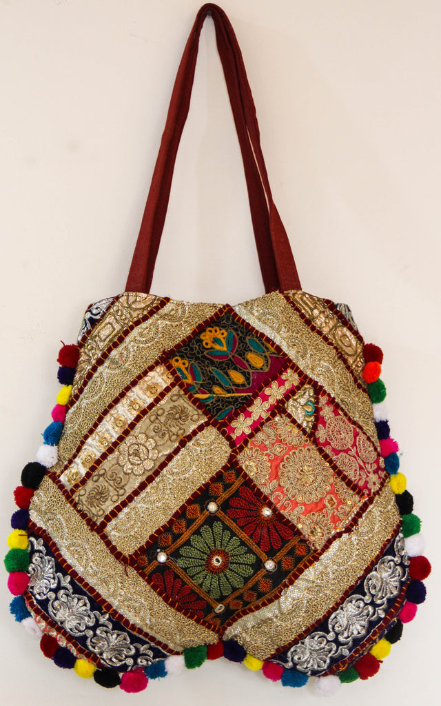 Festive Zari Patchwork Maroon and Gold Tote Bag